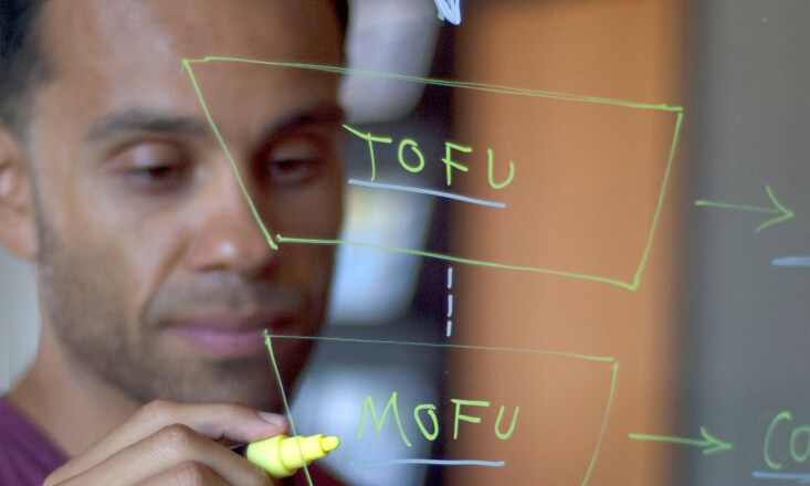 Guy sketching a sales funnel on a glass wall