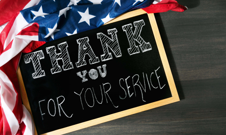 Thank You for Your Service Board Sign with the flag of the USA