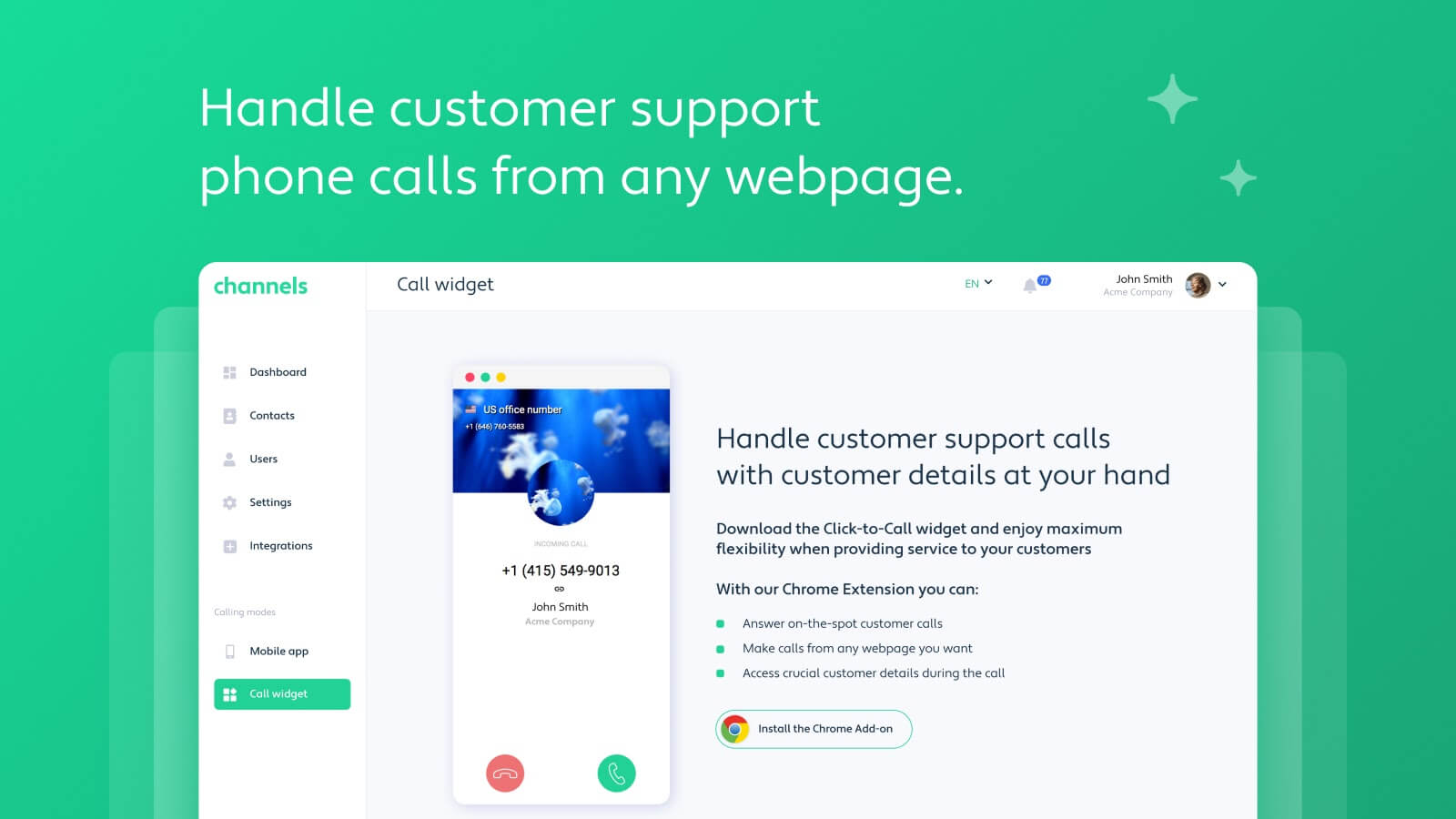 Grasshopper Alternative: Handle phone calls from any webpage you're on with Channels Chrome Extension